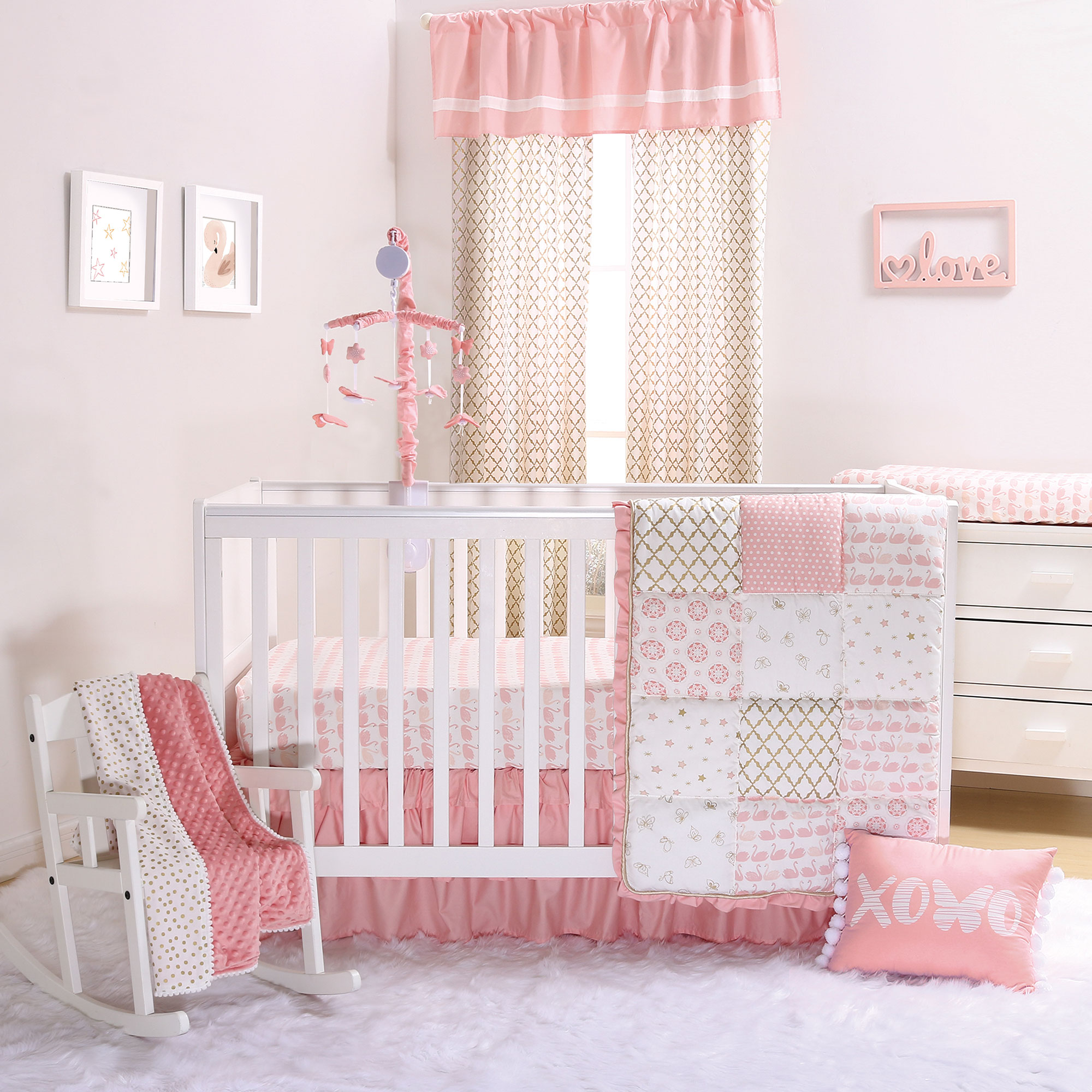 Coral Pink Swan and Gold Trellis 4 Piece Crib Bedding Set by The Peanut Shell