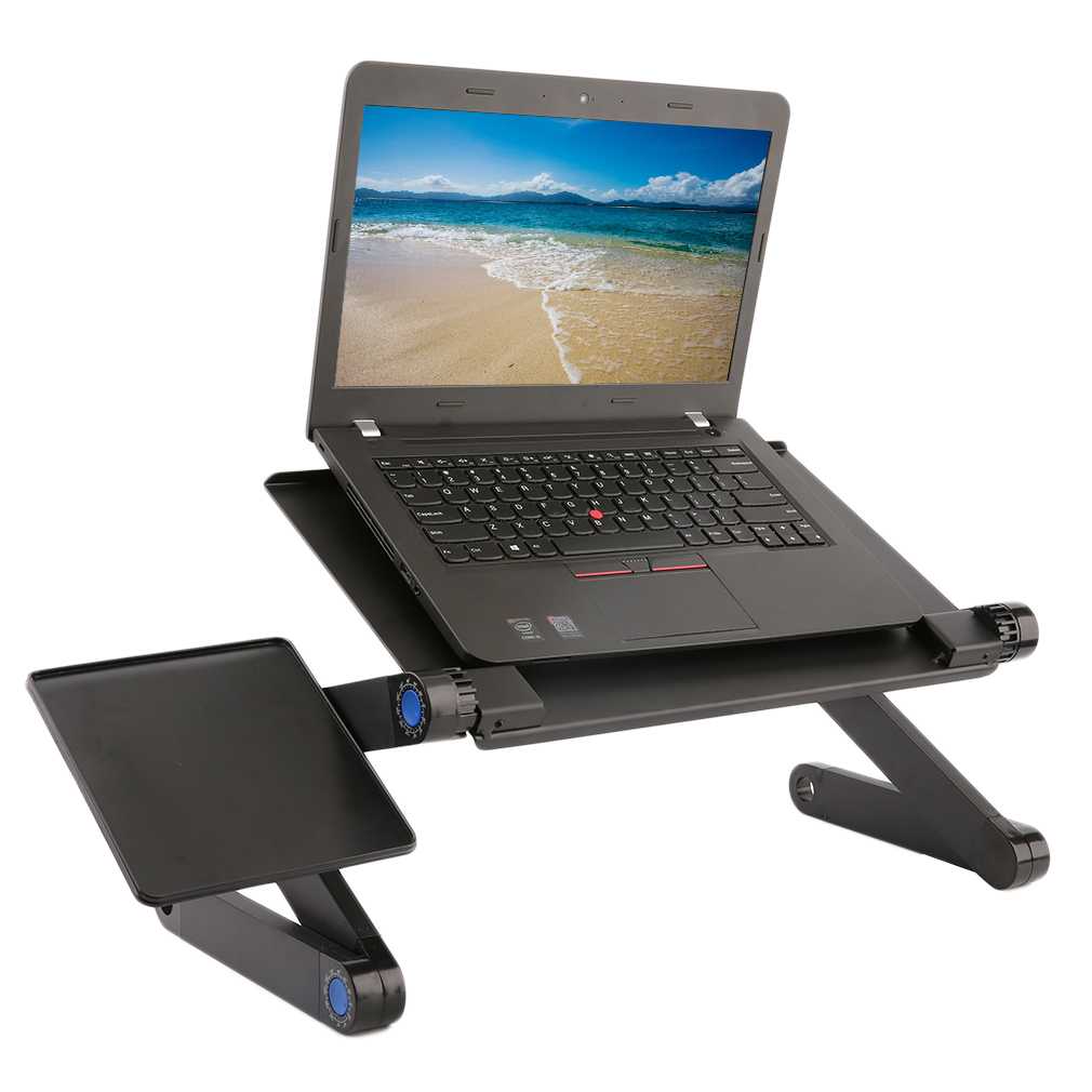 Foldable Computer Desk ,Ergonomic Adjustable Foldable Laptop Desk Table N Type Stand Portable Bed Tray,Black