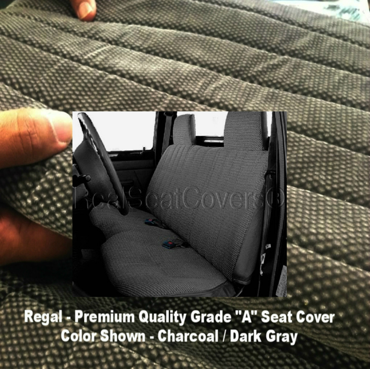 Toyota Pickup 1989 - 1995 Front Solid Bench A25 Seat Cover Molded Headrest Notched Cushion Charcoal, Dark Gray