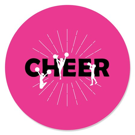 We've Got Spirit - Cheerleading - Birthday Party or Cheerleader Party Circle Sticker Labels - 24 Count - Cheerleader Supplies