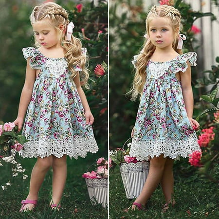 Toddler Girls Dress Kids Baby Party Flower Lace Dresses Birthday Party Dress - Lace Flower Girls Dresses