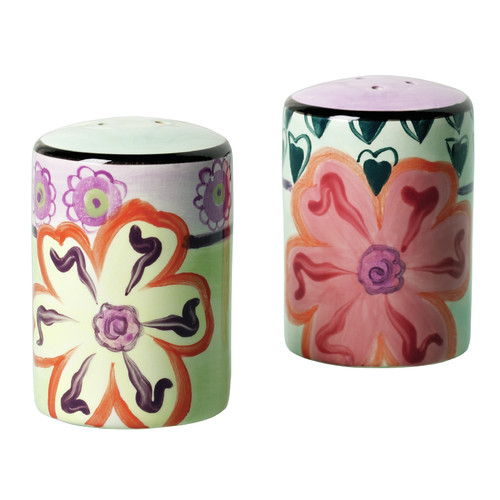 Kathy Davis Hearts and Flowers 2 Piece Salt and Pepper Shaker Set