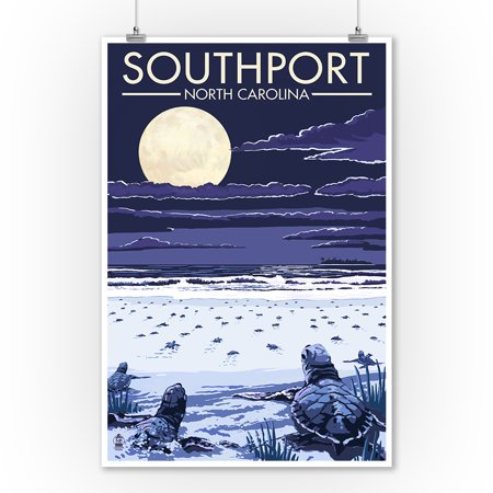 Southport, North Carolina - Sea Turtles Hatching - Lantern Press Poster (9x12 Art Print, Wall Decor Travel Poster) (Southport Hanging)