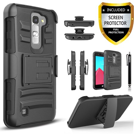 LG Escape 2 Case, LG Spirit LTE Case, Dual Layers [Combo Holster] Case And Built-In Kickstand Bundled with [Premium Screen Protector] Hybird Shockproof And Circlemalls Stylus Pen (Black)
