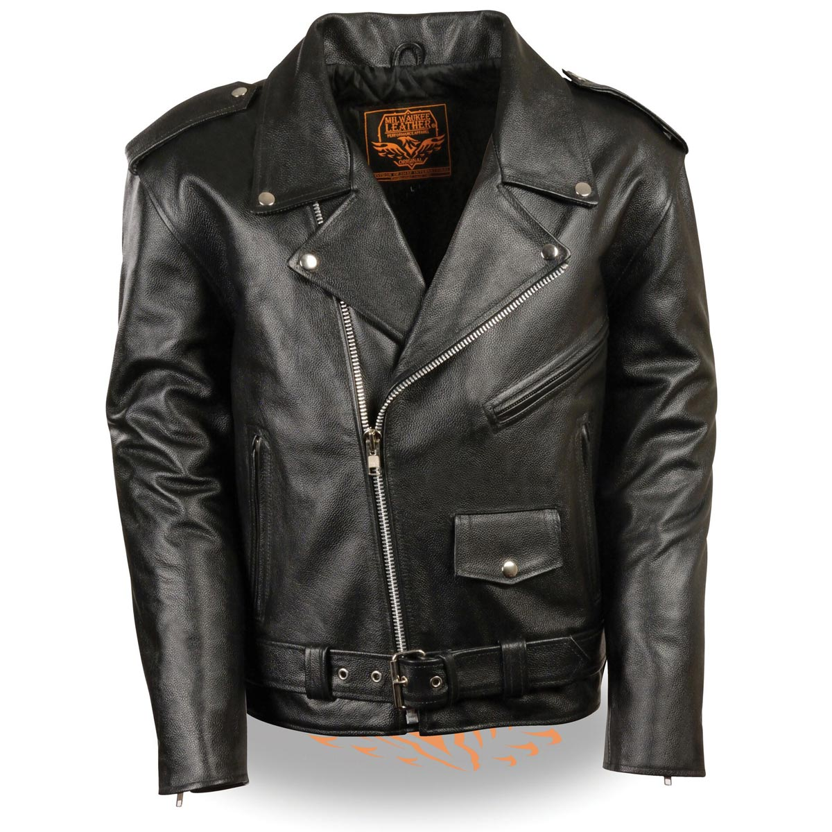 Milwaukee Leather Mens Classic Police Style Black Leather...