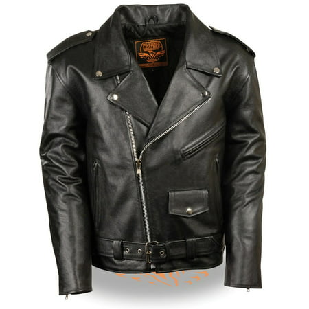 Milwaukee Leather Mens Classic Police Style Black Leather Motorcycle Jacket