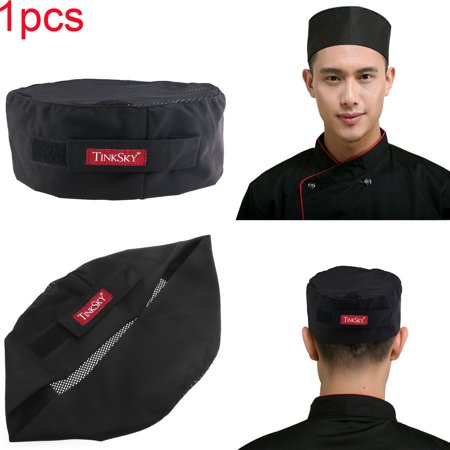 Breathable Mesh Top Skull Cap Professional Catering Chefs Hat with Adjustable Strap - One Size (Black)