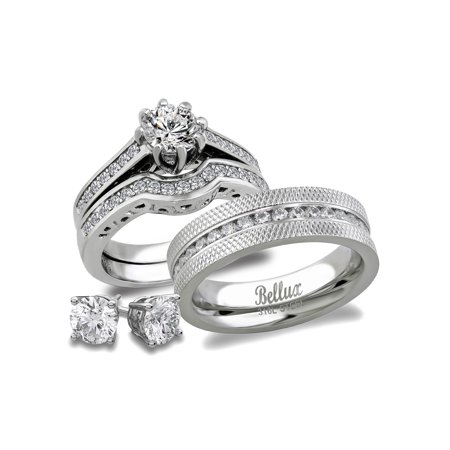 Bellux Style His And Hers Stainless Steel Cz Bridal Matching Wedding Ring Set Sterling Silver Stud Earrings Women S Size 10 Men 12