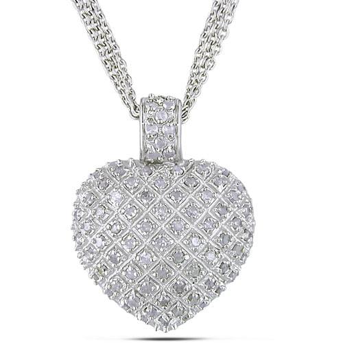 Miabella 1 Carat T.W. Diamond Heart Pendant with 3-Strand Chain in Sterling Silver