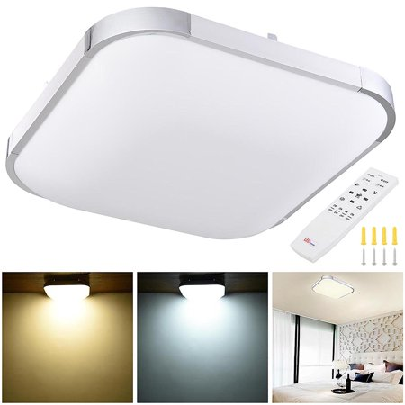 (Yescom Modern Dimmable LED Ceiling Light 48/36/24W Rectangle/Square/Round w/ Flush Mount Remote Control Opt)