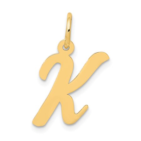 14k Initials Charm - 14k Yellow Gold Medium Script Initial Monogram Name Letter K Pendant Charm Necklace Gifts For Women For Her