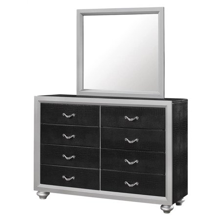 dresser with mirror set in black and silver finish. Black Bedroom Furniture Sets. Home Design Ideas