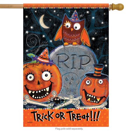 Kooky Spooky Halloween House Flag Happy Owl Trick or Treat 2 Sided 28