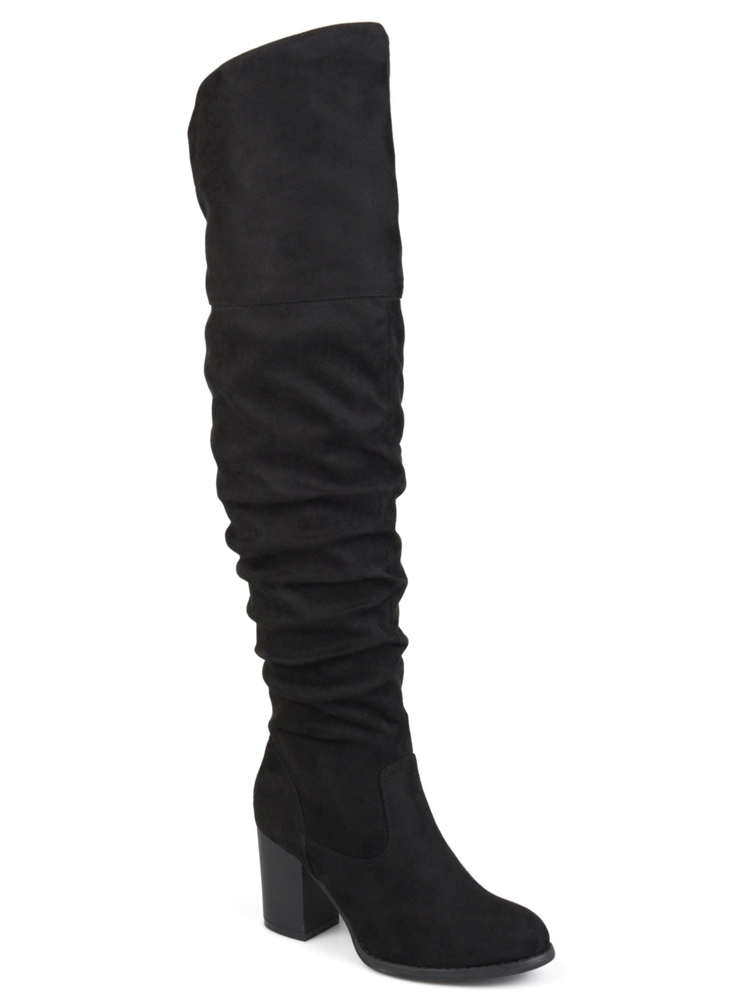 780aaf566a7 Brinley Co. Women s Extra Wide Calf Ruched Stacked Heel Faux Suede Over-the-knee  Boots - Walmart.com