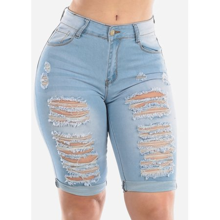 Womens Juniors Fashion Stretchy Mid Rise 1 Button Whisker Destroyed Distressed Ripped Light Wash Denim Bermuda Shorts 10561Z