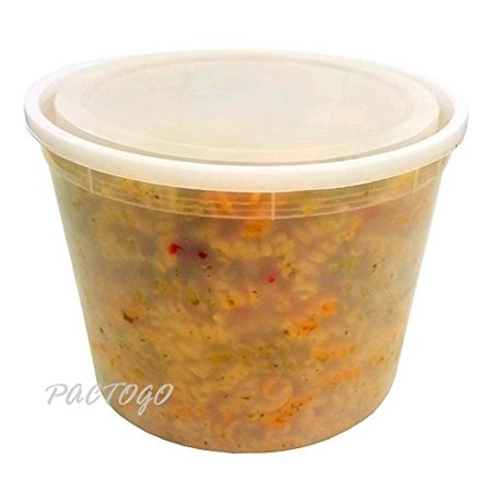 Foam Pak US 128 oz. (Gallon Size) Clear-Translucent Round Plastic Heavy Duty Deli/Soup Freezer Food Container w/Lids - 100% BPA Free (Pack of 15 Sets) (Heavy Round Box)