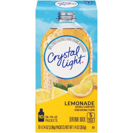 (6 Pack) Crystal Light On-The-Go Sugar-Free Lemonade Drink Mix, 10 Packets