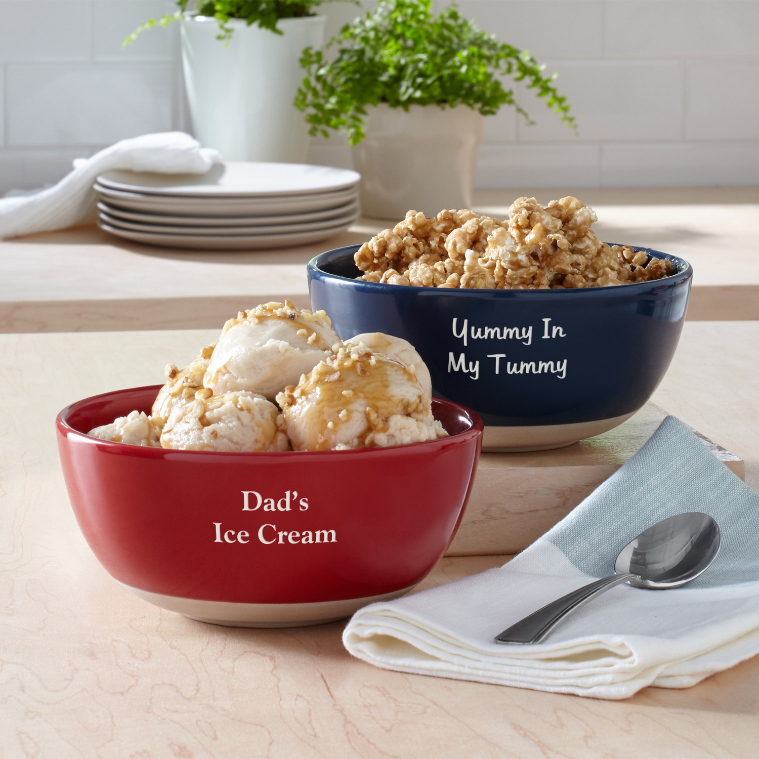 Personalized Any Message Ceramic Bowl - Script or Block Writing