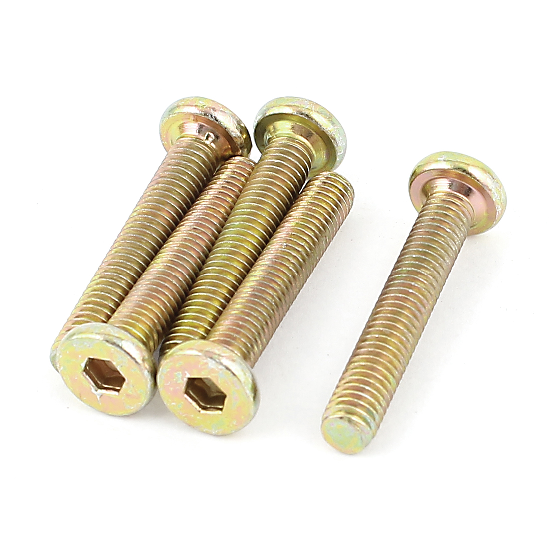 Uxcell M6 x 35mm Full Thread Hex Socket Head Cap Screws Bolts Bronze Tone (5-pack)