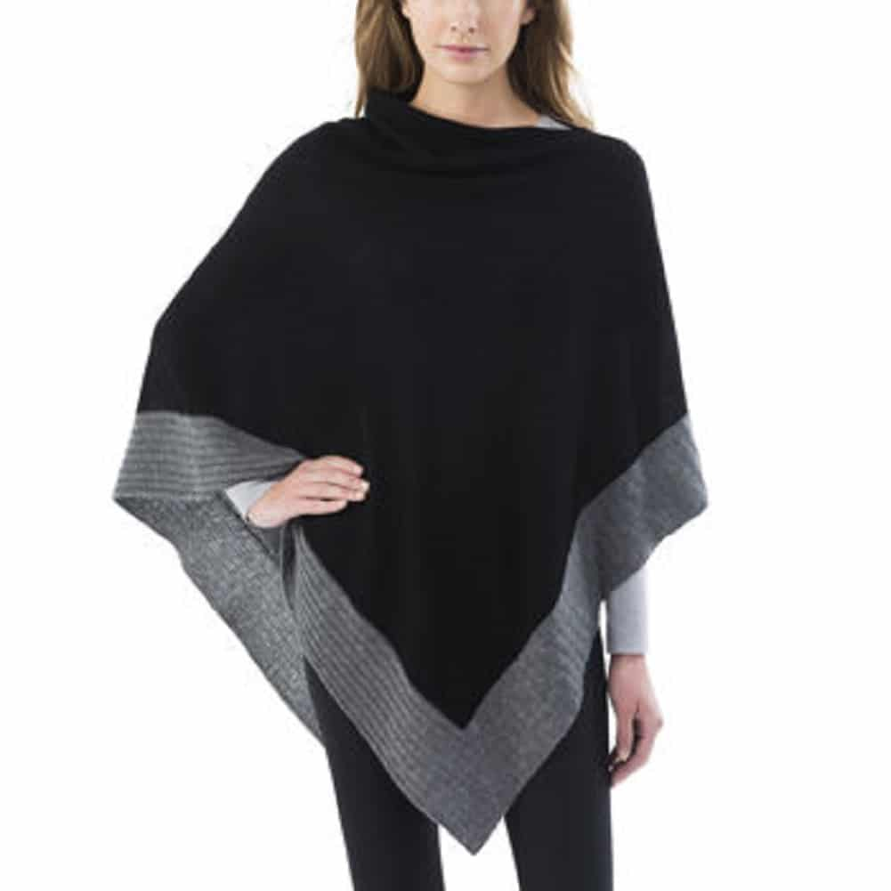 Womens Colorblock Cashmere Blend Travel Wrap Sweater Poncho by