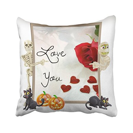WinHome Decorative Pillowcases Halloween Love You Crazy Cushion Funny And Weird Throw Pillow Covers Cases Cushion Cover Case Sofa 18x18 Inches Two Side