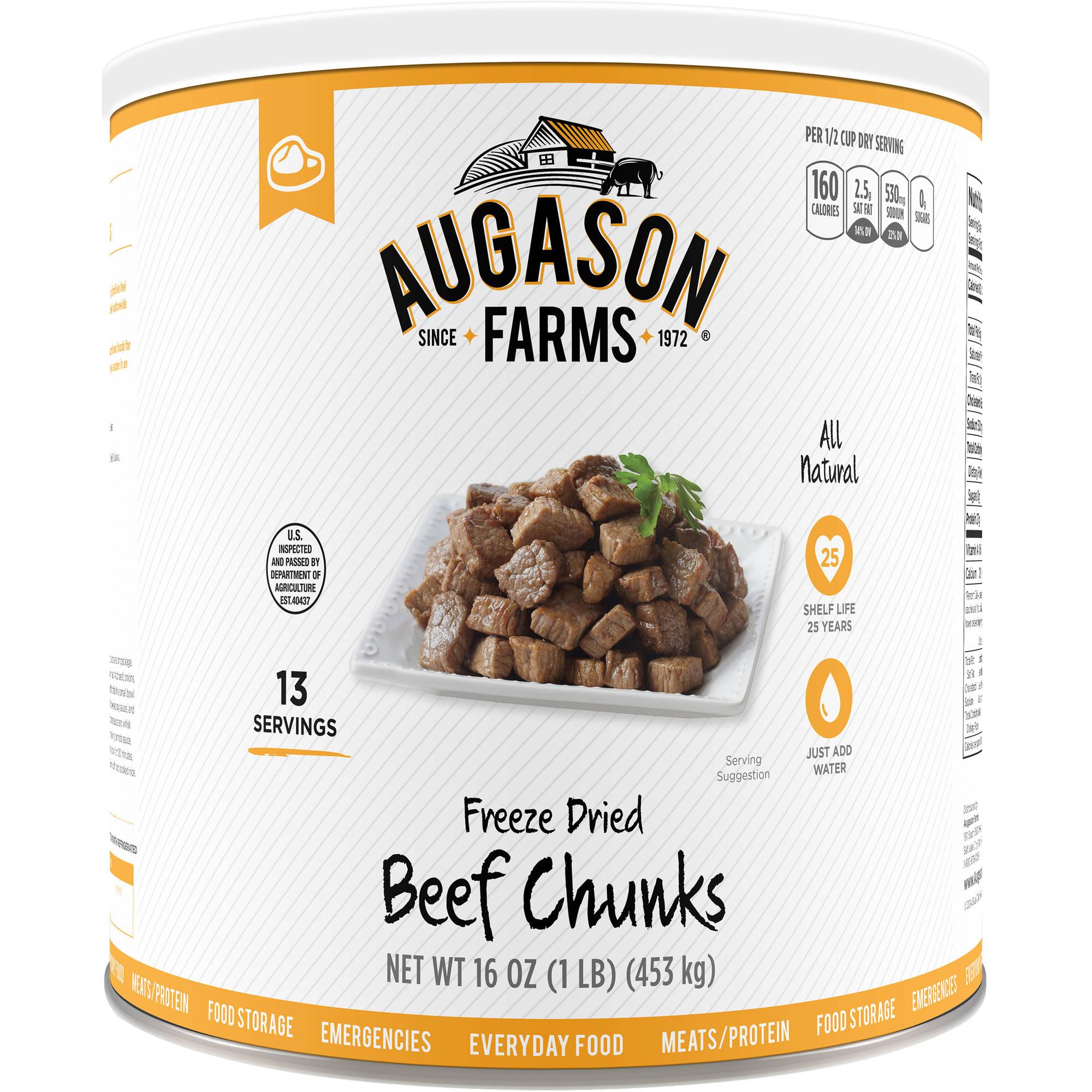 Augason Farms Emergency Food Freeze Dried Beef Chunks, 16 oz