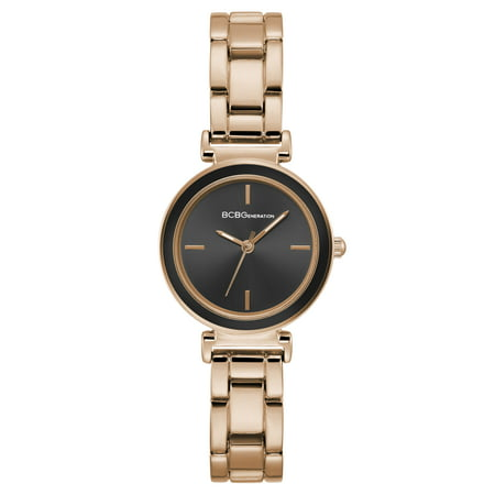BCBG GENERATION LADIES CLASSIC ANALOG 3 HANDS DISPLAY ROSE GOLD CASE BLACK DIAL ROSE GOLD BRACELET GN50611006