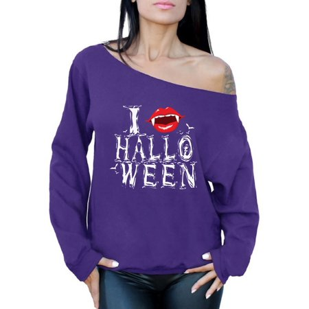Awkward Styles Women's Halloween Graphic Off Shoulder Tops Oversized Sweatshirt I Fangs Halloween Vampire Fangs