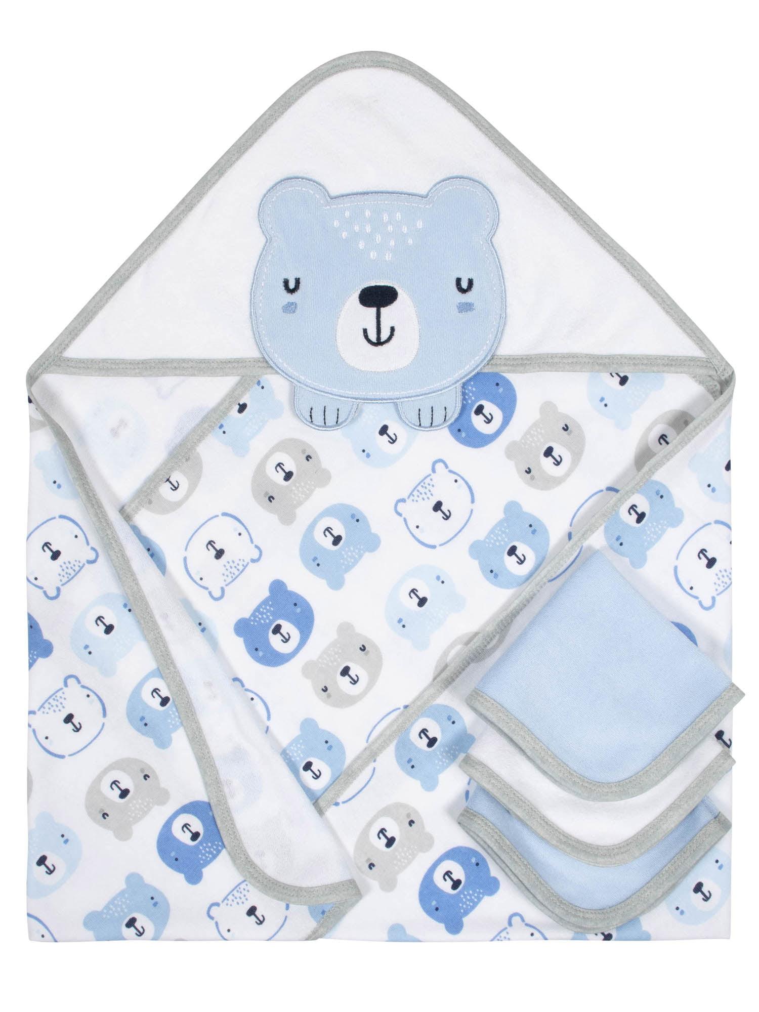 Gerber Organic Cotton Hooded Towel and Washcloths Bath Set, 4pc (Baby Boy)