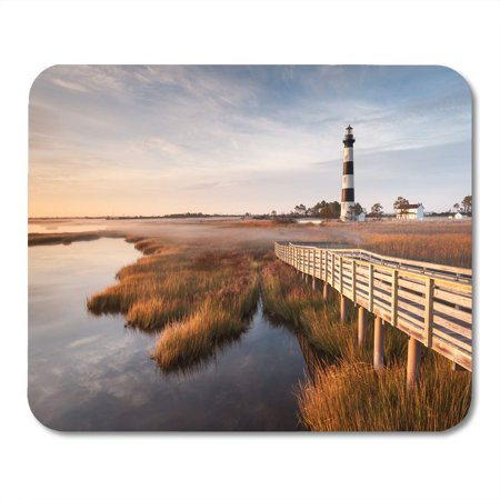 Marsh Island - KDAGR Coast North Carolina Outer Banks Bodie Island Lighthouse Autumn Morning Marsh Boardwalk Hatteras Mousepad Mouse Pad Mouse Mat 9x10 inch
