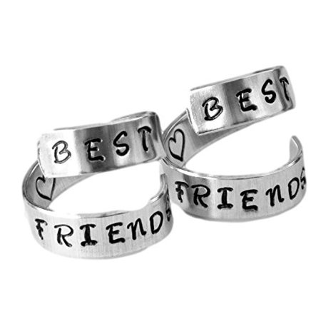 Best Friends Rings Two Aluminum Set Twist BFF