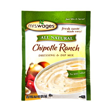 Chipotle Ranch - Mrs. Wages All Natural Chipotle Ranch Dressing & Dip Mix 0.8 oz. (6 Packets)
