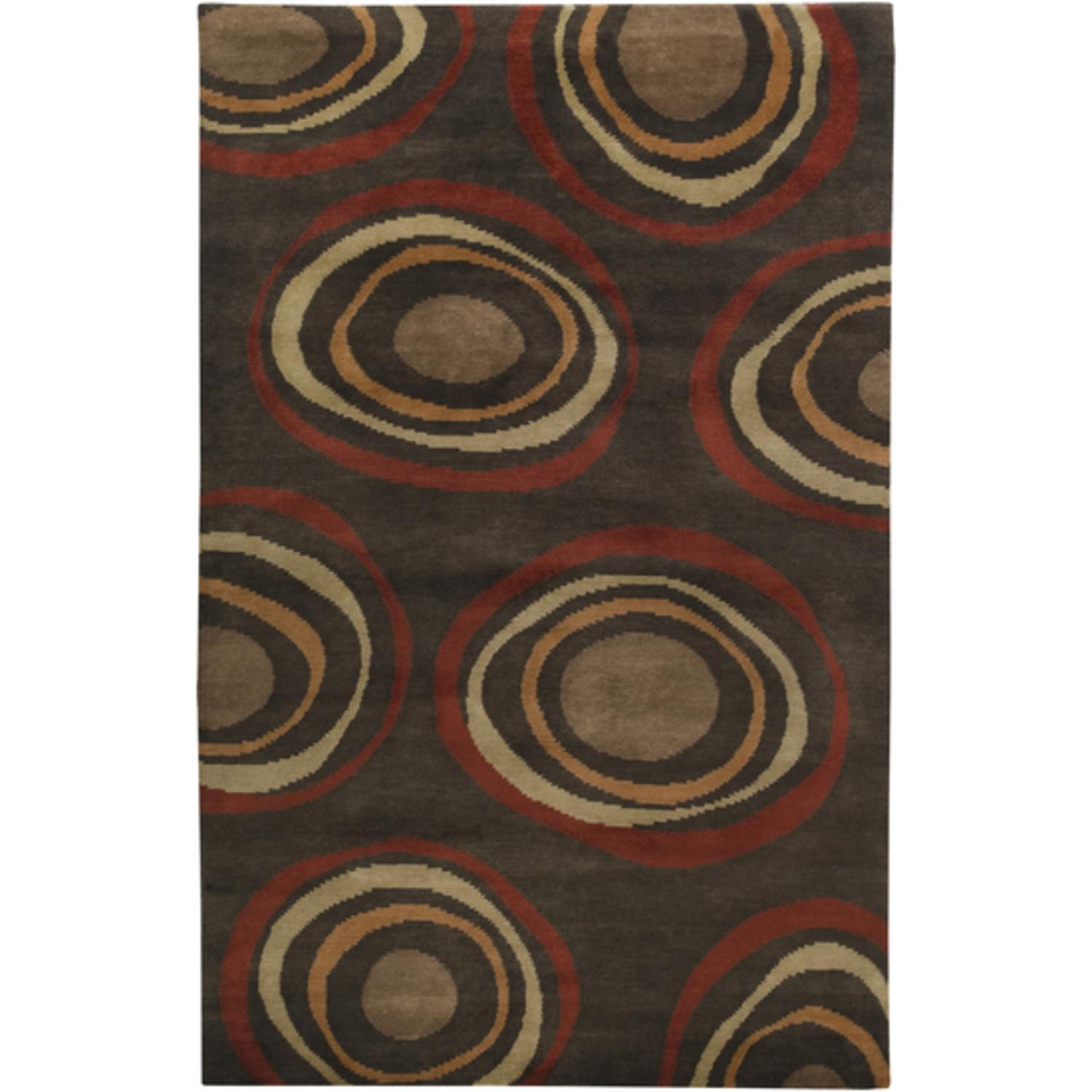 8' x 11' Circular Orbits Safari Tan and Dark Brown Wool Area Throw Rug
