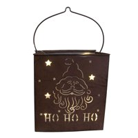 """12.5"""" Brown Shimmering LED Lighted Santa Claus Battery Operated Christmas Lantern"""