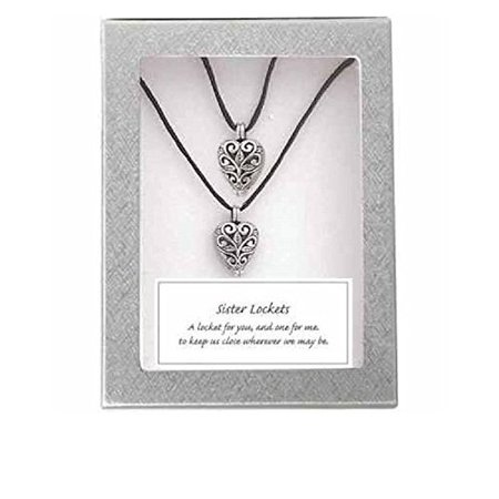 Sisters Heart Prayer Locket Set  Includes Two 18 Inch Black Satin Cords