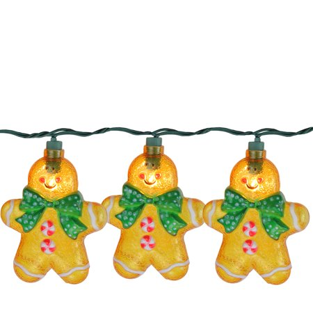 Gingerbread Kisses Led (Set of 10 Gingerbread Kisses Cookie Man with Bow Tie Christmas Lights - Green)