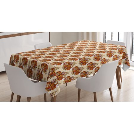 Batik Decor Tablecloth, Retro Cone-Shaped Mehndi Forms Ethnic Traditional Feminine Kitsch Art Print, Rectangular Table Cover for Dining Room Kitchen, 52 X 70 Inches, Orange Beige, by