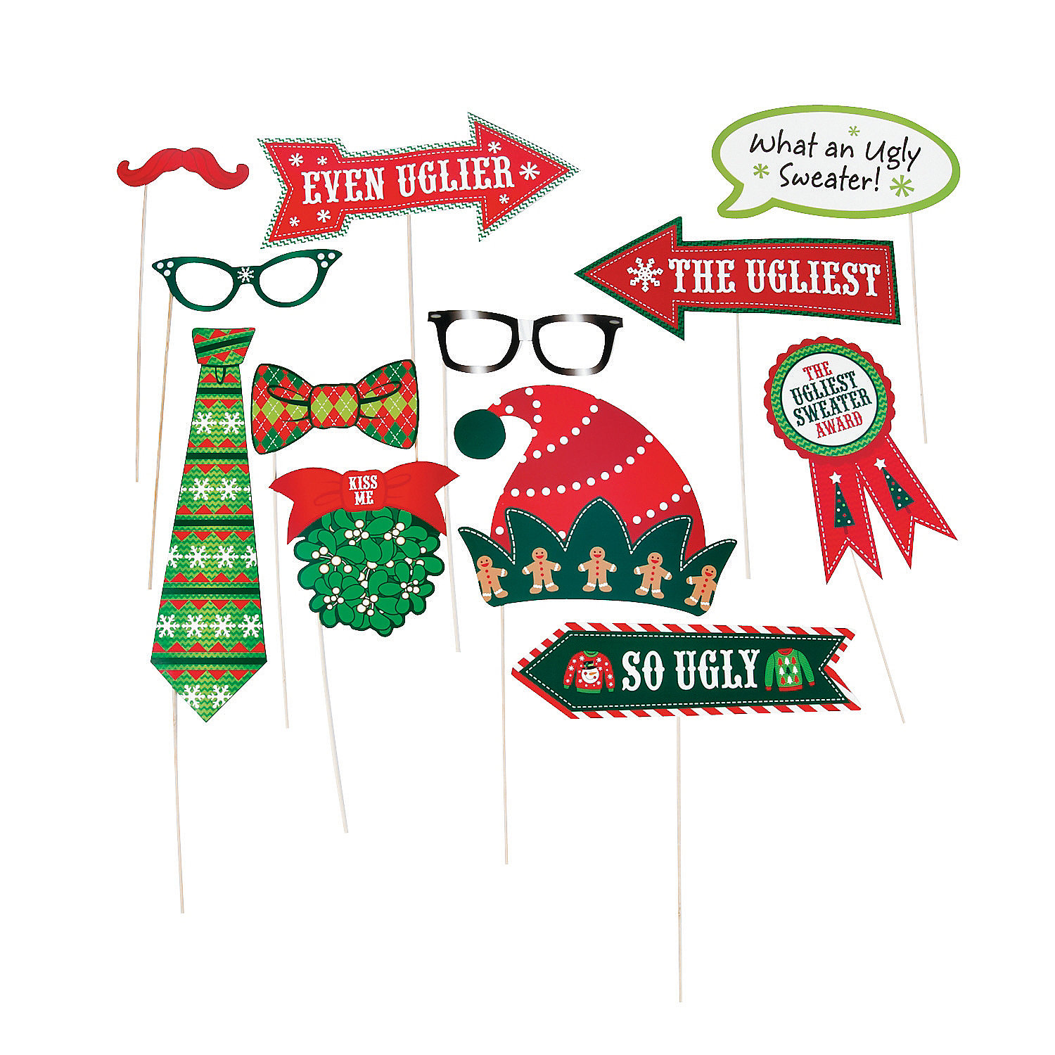 IN-13710528 Ugly Sweater Photo Stick Props Per Dozen