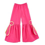 Little Girls Fuchsia Yellow Piping Ribbon Bow Accent Flare Pants 12M-6