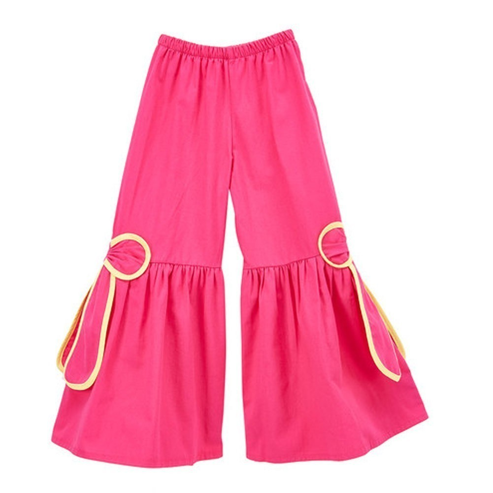 Little Girls Fuchsia Yellow Piping Ribbon Bow Accent Flare Pants 12M-6