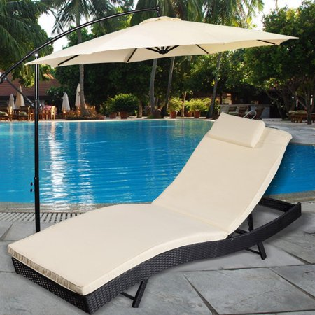 Costway Adjule Pool Chaise Lounge Chair Outdoor Patio Furniture Pe Wicker W Cushion
