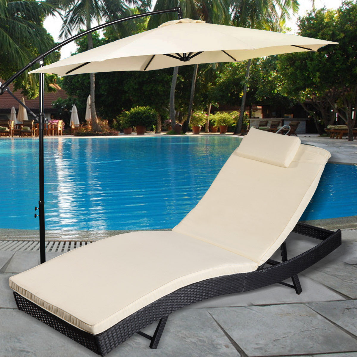 Costway Adjustable Pool Chaise Lounge Chair Outdoor Patio Furniture PE  Wicker W/Cushion