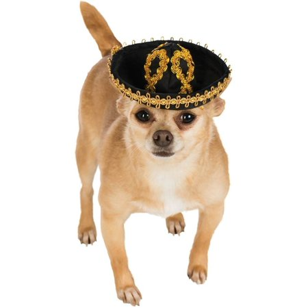 Black Gold Cinco De Mayo Day of the Dead Sombrero Hat For Pet Dog - Large Sombrero