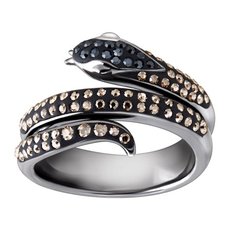 Snake Ring with Black & Silver Mist Swarovski Crystals in Black Rhodium-Plated Sterling Silver