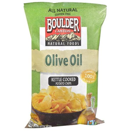 (2 Pack) Olive Oil Totally Natural Kettle Potato Chips, 5 Ounce -- 12 per case.