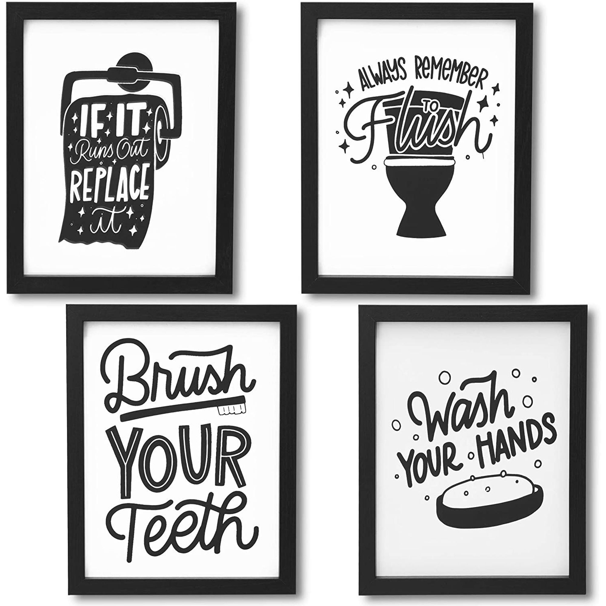 Set Of 4 Bathroom Wall Art Prints Funny Quotes Bathroom Sign Wall Door Decor 8 X10 Black White Walmart Com Walmart Com