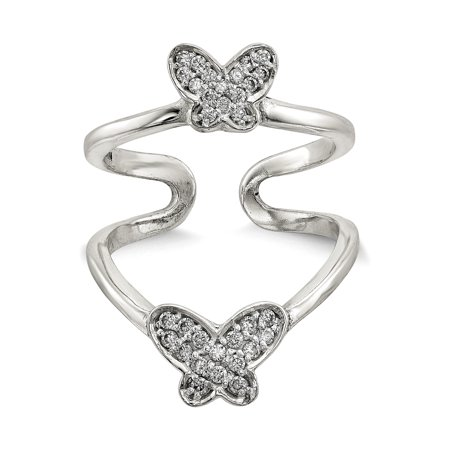 Sterling Silver Polished CZ Double Butterfly Adjustable Cuff Ring Size