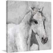"""""""Grey Elegant Horse"""" Painting Print on Wrapped Canvas by Parvez Michel Inc."""