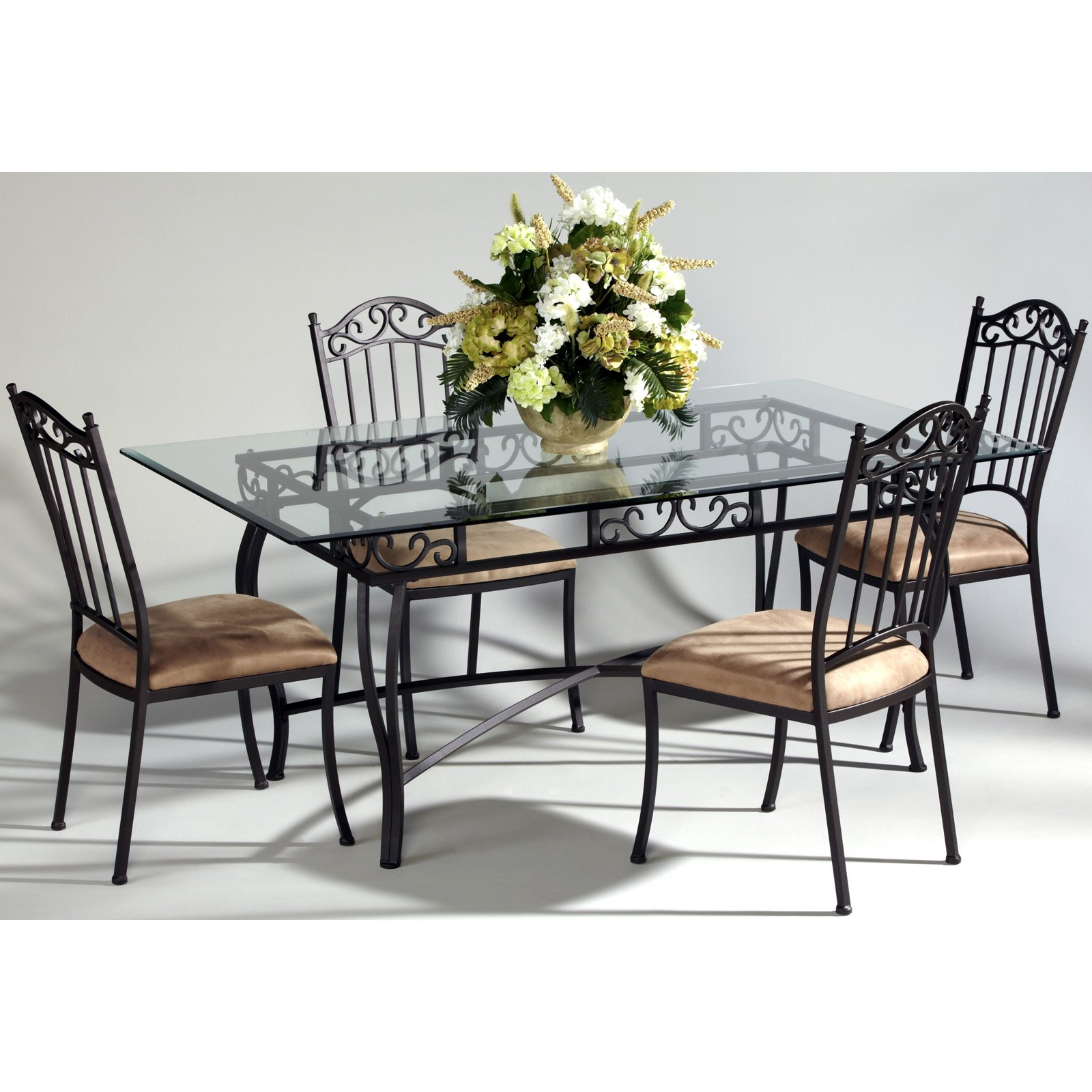 Chintaly Bethel Rectangular Wrought Iron Dining Table With Glass Top