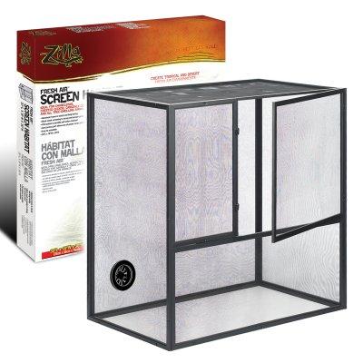 Zilla Fresh Air 11811 Aluminum Frame Plastic Bottom Black Fresh Air Screen Habitat, 29.7 Inch x 2.7 Inch x 30.5 Inch